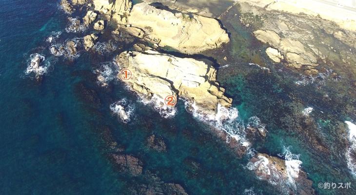 向タタミ島釣り座