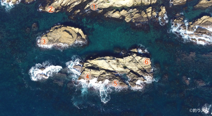 大島トガリ島釣り座