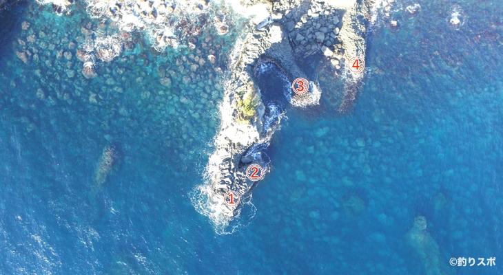 スズメ岩釣り座