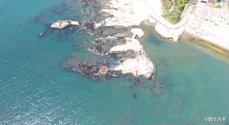 法華崎南側の磯釣り座