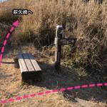 アップダウンする山道を越えたらベンチがありここを直進する。