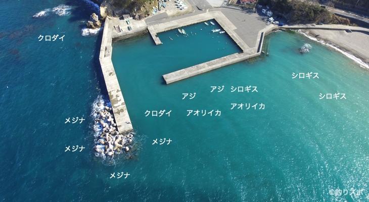 石部港空撮釣り場情報