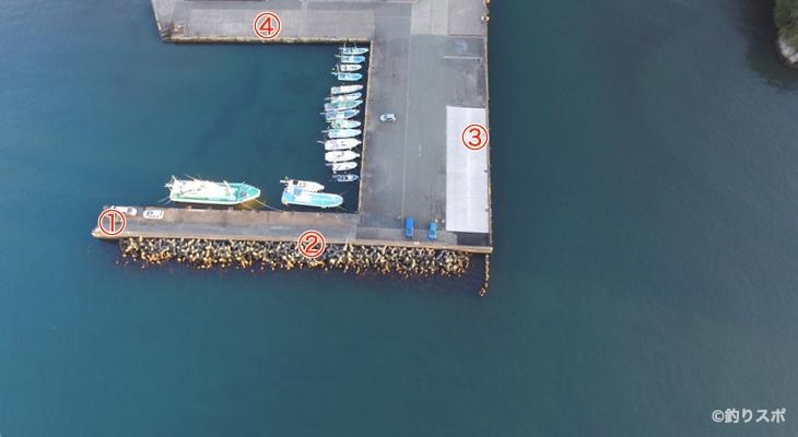 松崎港釣り座