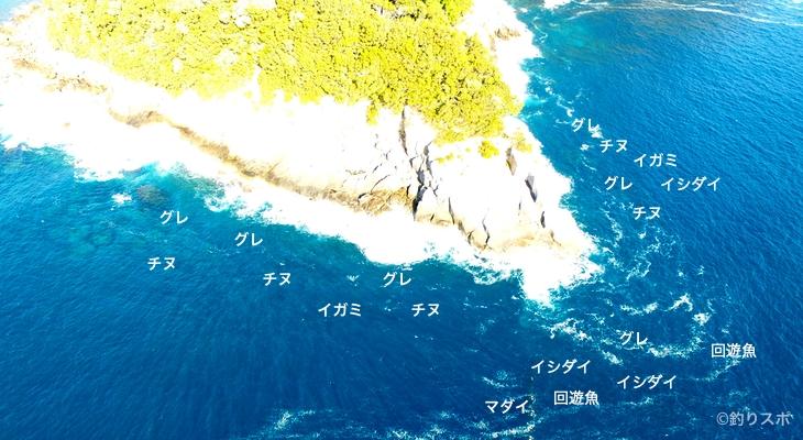 ロープ下(早田見張下)空撮釣り場情報