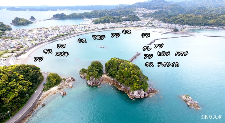 宇久井港空撮釣り場情報
