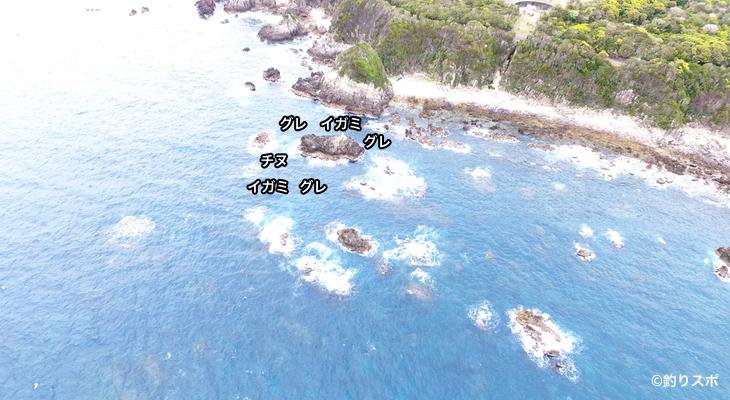 ブンカ島空撮釣り場情報
