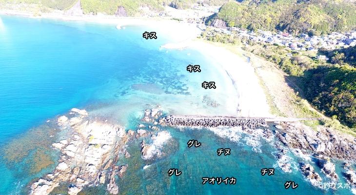 玉ノ浦海水浴場空撮釣り場情報
