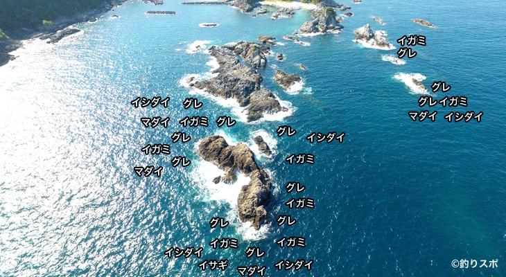 沖の赤島空撮釣り場情報