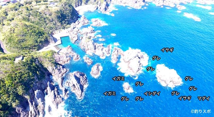 沖の大島空撮釣り場情報