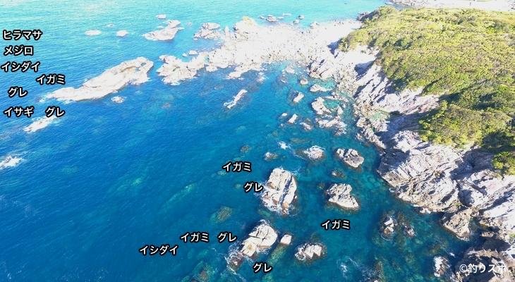 潮場の長島空撮釣り場情報