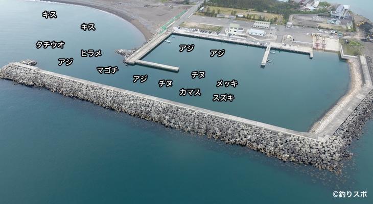 濱ノ瀬漁港空撮釣り場情報