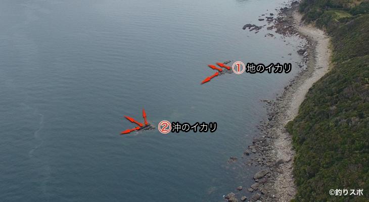沖のイカリ地のイカリ釣り座