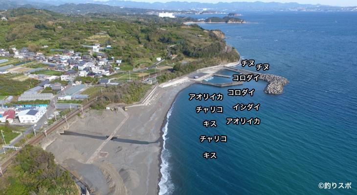 岩代漁港空撮釣り場情報