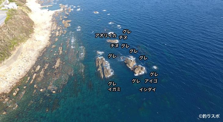 鈴島・タツミ空撮釣り場情報