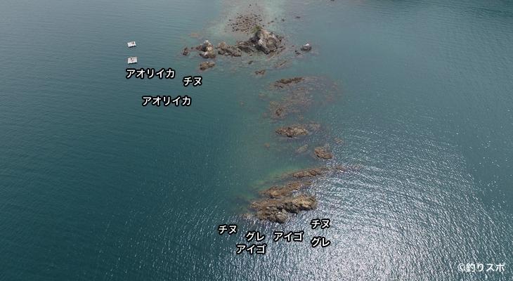 弁天岩空撮釣り場情報